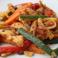 Pechugas de pollo con verduras a la miel. Paso a paso.
