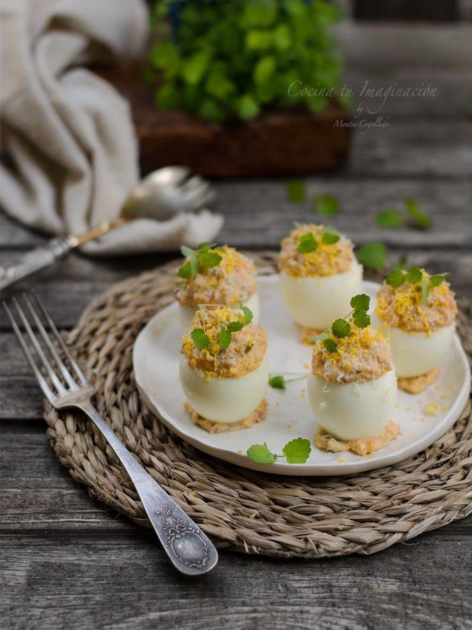 huevos rellenos atun y tomate
