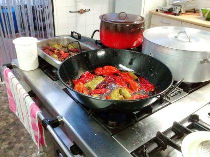 Laura y Enrique en la Cocina del Albergue