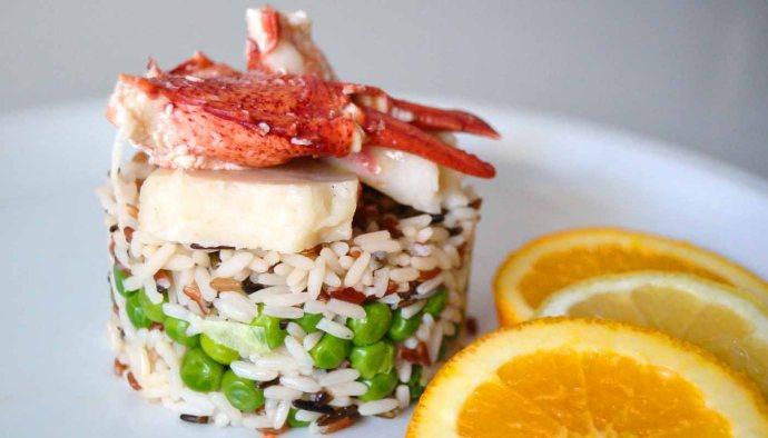 Receta de arroz tres colores con guisantes y bogavante - recetas de arroces con legumbres - recetas realfooding o real food