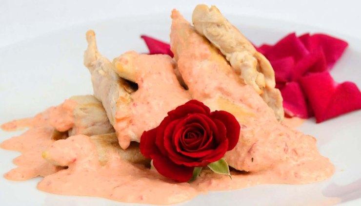 Menú de recetas con flores