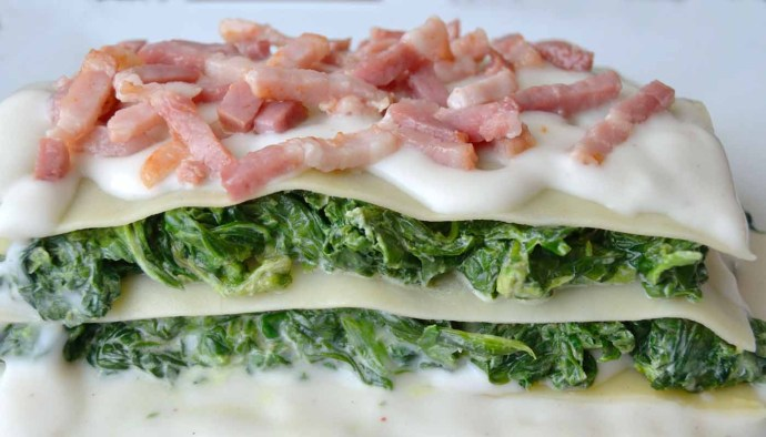 Receta de lasaña de espinacas y bacon - recetas de lasañas y canelones - recetas de pasta - recetas realfooding o real food