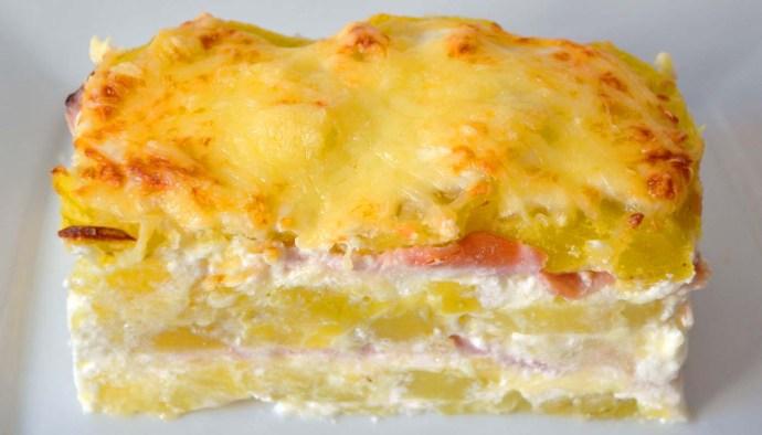 Receta de milhojas de patatas asadas con crema de leche y jamón york - recetas de patatas - recetas realfooding o real food