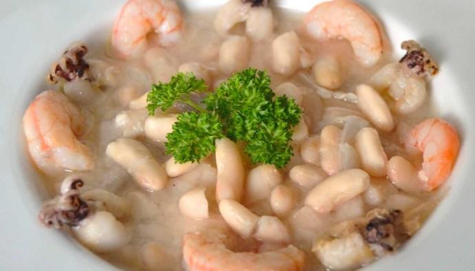 Receta de guiso de alubias con gambas y sipietas - recetas de alubias o frijoles - recetas de legumbres - recetas realfooding o real food