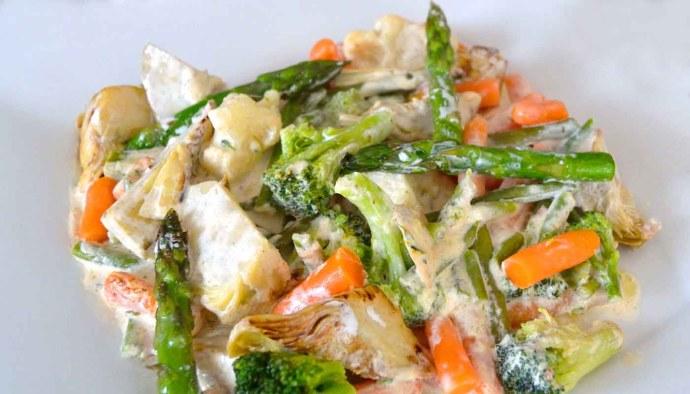 Receta de verduras guisadas con salsa de queso ricotta - recetas de verduras y hortalizas para niños - recetas realfooding o real food