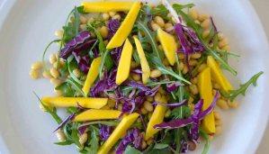 Receta de ensalada de soja y mango con vinagreta de curry - recetas de soja - recetas de legumbres - recetas de ensaladas - recetas vegetarianas y veganas