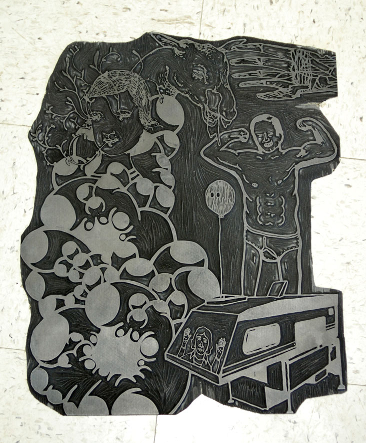 Linoblock used for Team Lump print