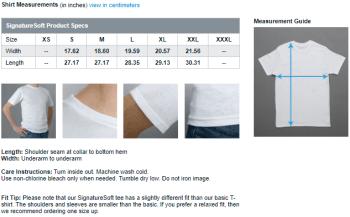 Adult T-shirt Sizes