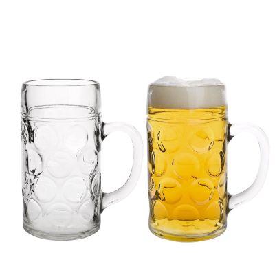 Domestic-922675-Kugelmasskrug-1-Liter-mit-Schild-und-Eichung-2-er-Set-Bier-Masskruege