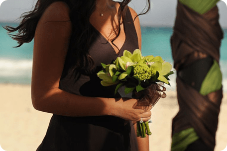 green cymbidum orchid bouquet beach destination wedding