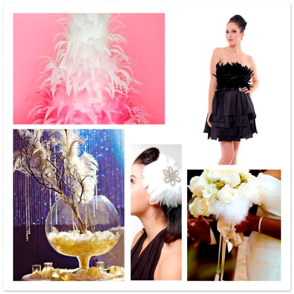 black swan feather wedding event inspiration board ideas  feather wedding cake feather dress feather centerpiece feather bouquet