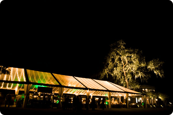 clear tent with string lighting on jekyll island