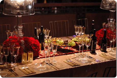 Rectangular table with Lampshade Centerpieces with rose bases centerpieces