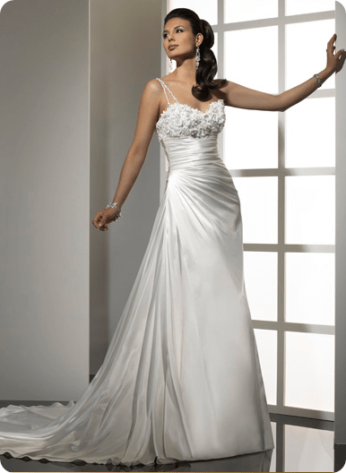 Dimensional flowers glistening with beaded embellishments decorate the bustline of this Royale Satin gown. A detachable double shoe string strap adds interest to the sweetheart neckline.