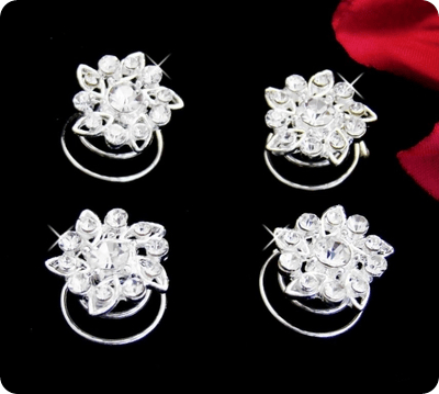 rhinestone twist in flower barettes for wedding