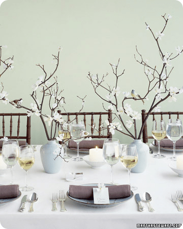 Gorgeous blossom branches in opaque vases;