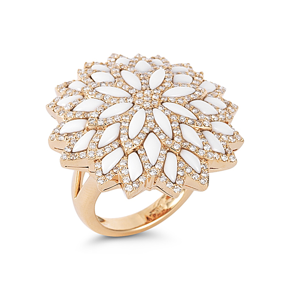 Dana Rebecca Designs Lindsey Elizabeth Ring - 14K Rose Gold with White Agate and Diamonds