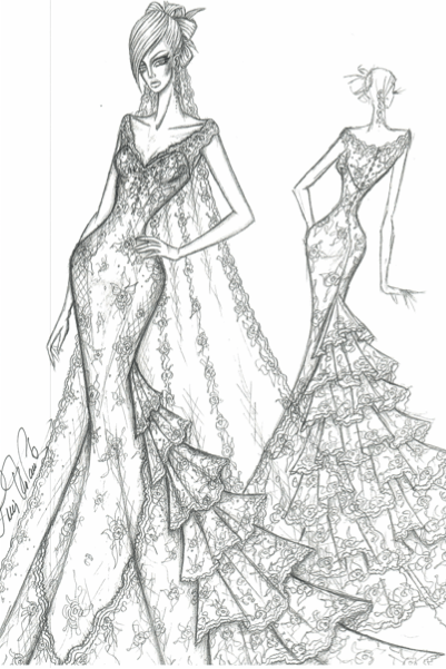Ines Di Santo gown wedding dress sketch for anne hathaway