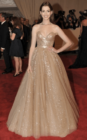 anne hathaway gold ball gown