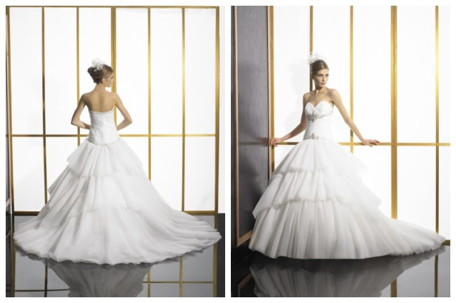 layered ball gown wedding dress by Val Stefani