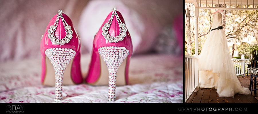 hot pink crystal wedding shoes and wedding dress by gray photography jacksonville wedding planner