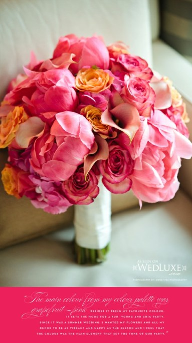 Pink Orange Peony Ranunculus Bouquet