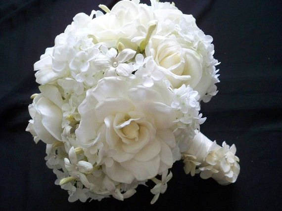 wedding bouquet roses, hydrangeas, stephanotis, gardenias