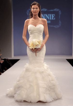 Ruffled mermaid fit and flare wedding dress winnie couture