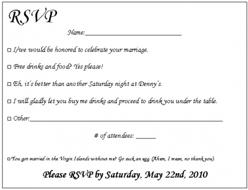 Fun Options/Story on RSVP Card for WEdding