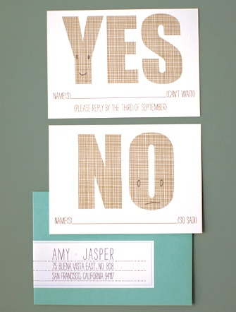 Two different RSVP Cards for Yes and No