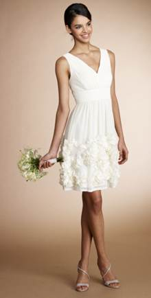 short ivory bridesmaid dress with rosette skirt
