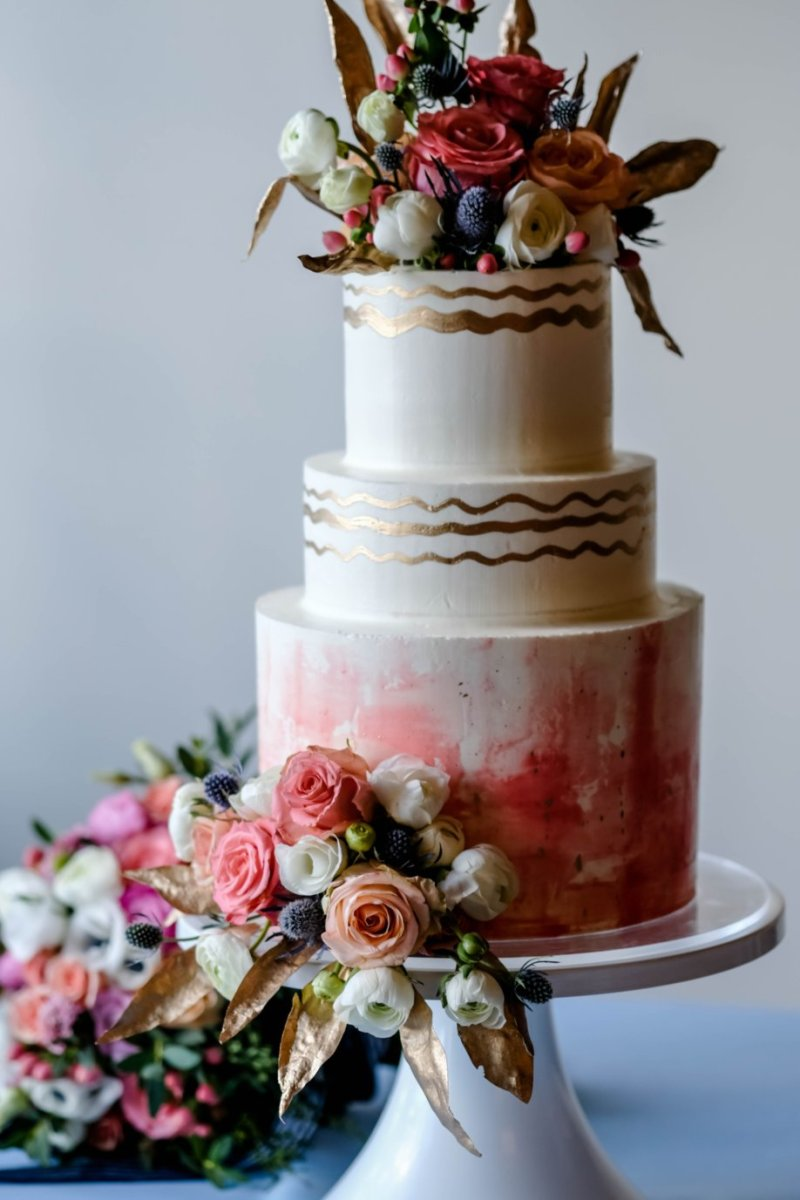 Watercolor and Gold Wedding Cake