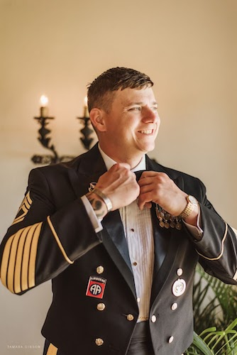 groom in his military dress uniform