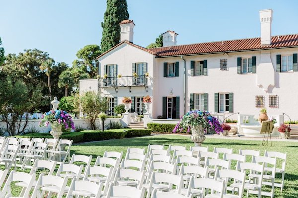 outdoor wedding ceremony at Crane Cottage