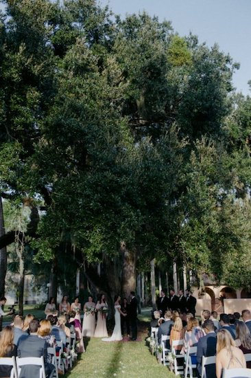outdoor Jekyll Island wedding ceremony under a two hundred year old tree at Villa Marianna