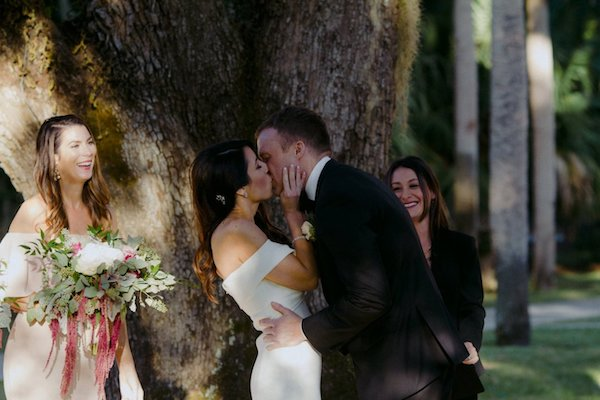 Just Married! Bride and groom kiss at the end of their Villa Mariana wedding ceremony