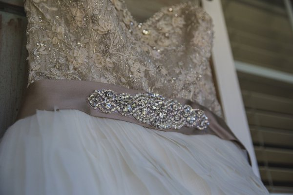 beaded wedding gown with Empire waist