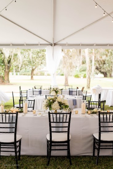 a socially distant tented wedding at JekyllIsland's Crane Cottage