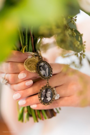 bridal bouquet with vintage photo lockets of her grandparents