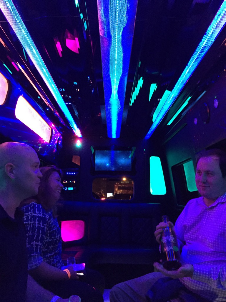 Bryan Davis, Joanne Haruta and Alex Burns in the disco bus