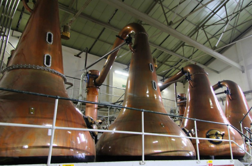 Pot stills at Lagavulin (wash on left, spirit on right)