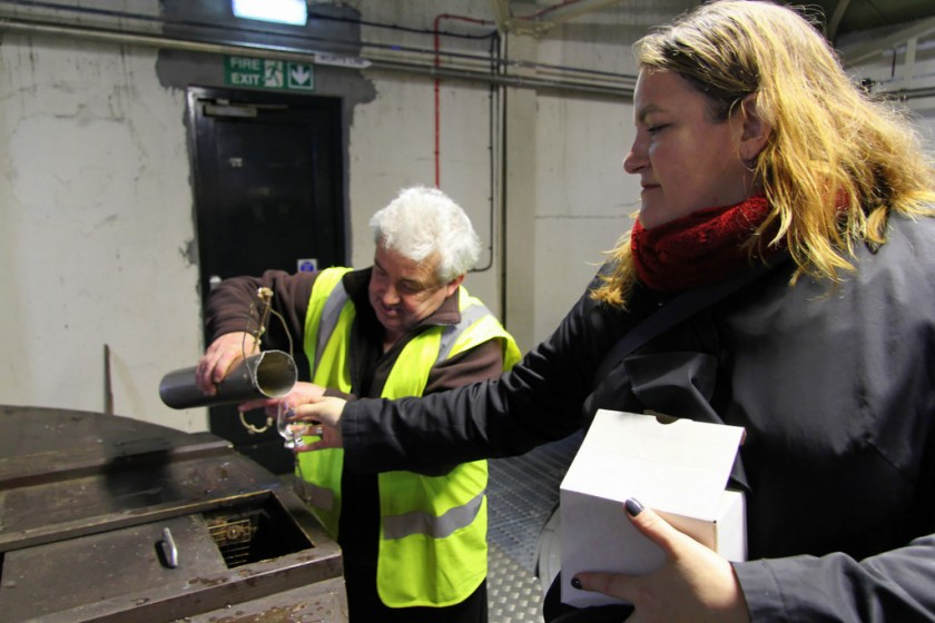 Sampling the wort at Lagavulin