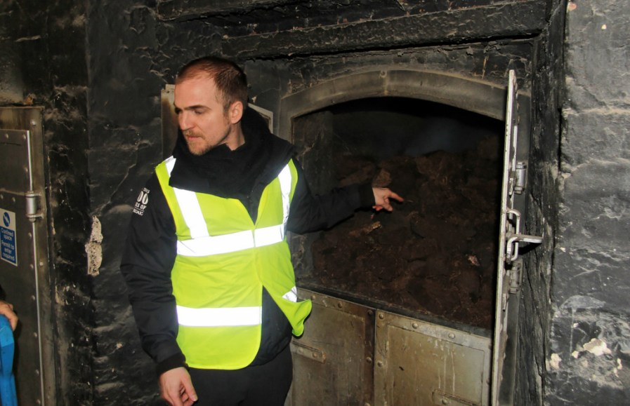 Peat burning at Laphroaig