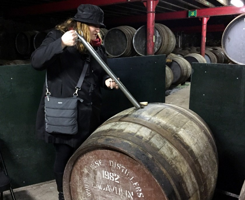 Mrs. Wonk using a Valinch at Bowmore (note year on cask)