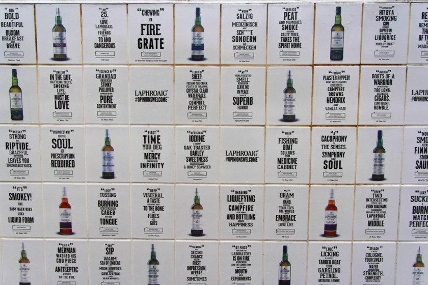 Opinions Welcomed tiles at Laphroaig distillery
