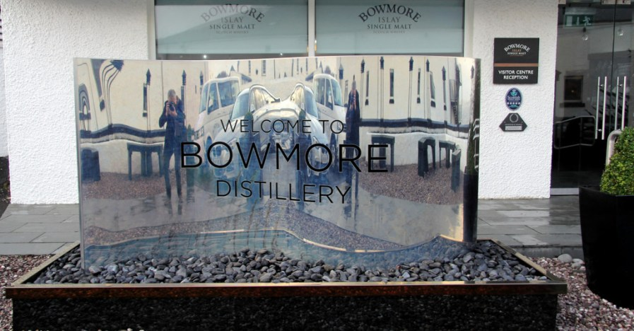Visitor's center sign, Bowmore distillery