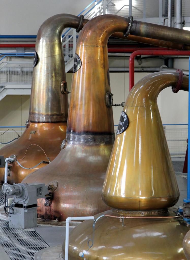 Pot Stills, Glenfiddich Distillery. Note rummager motor on left