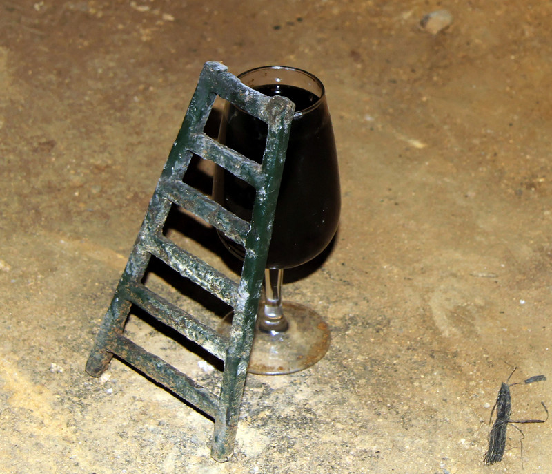 Ladder and wine glass