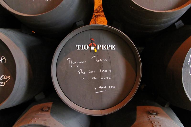 Margaret Thatcher cask at González Byass