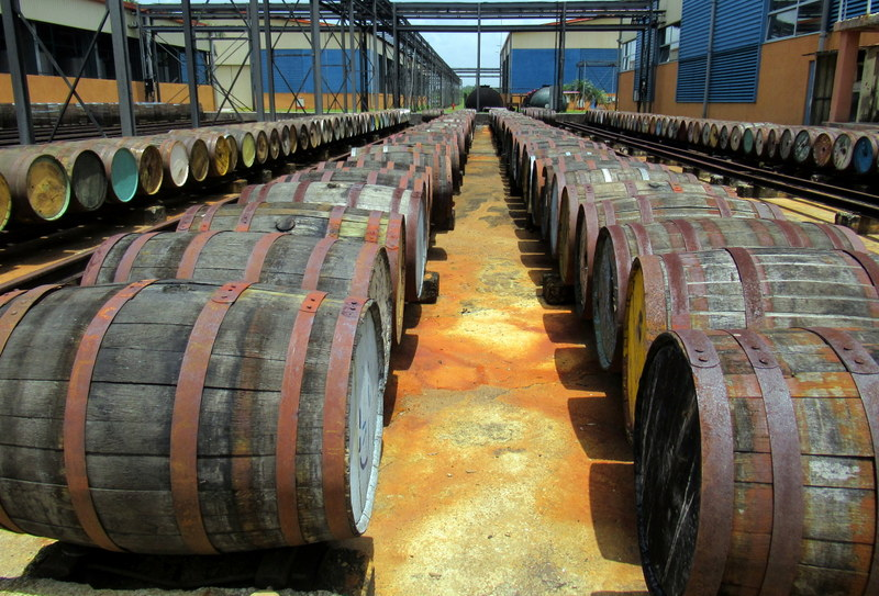 Used barrels at the Havana Club San Jose distillery